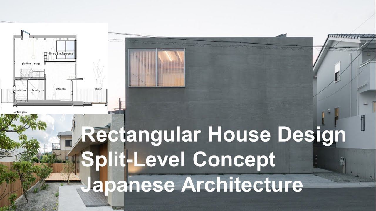 Rectangular house design split level concept japanese for Rectangular house design