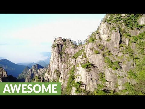 Incredible drone footage captures Huangshen Mountains in China