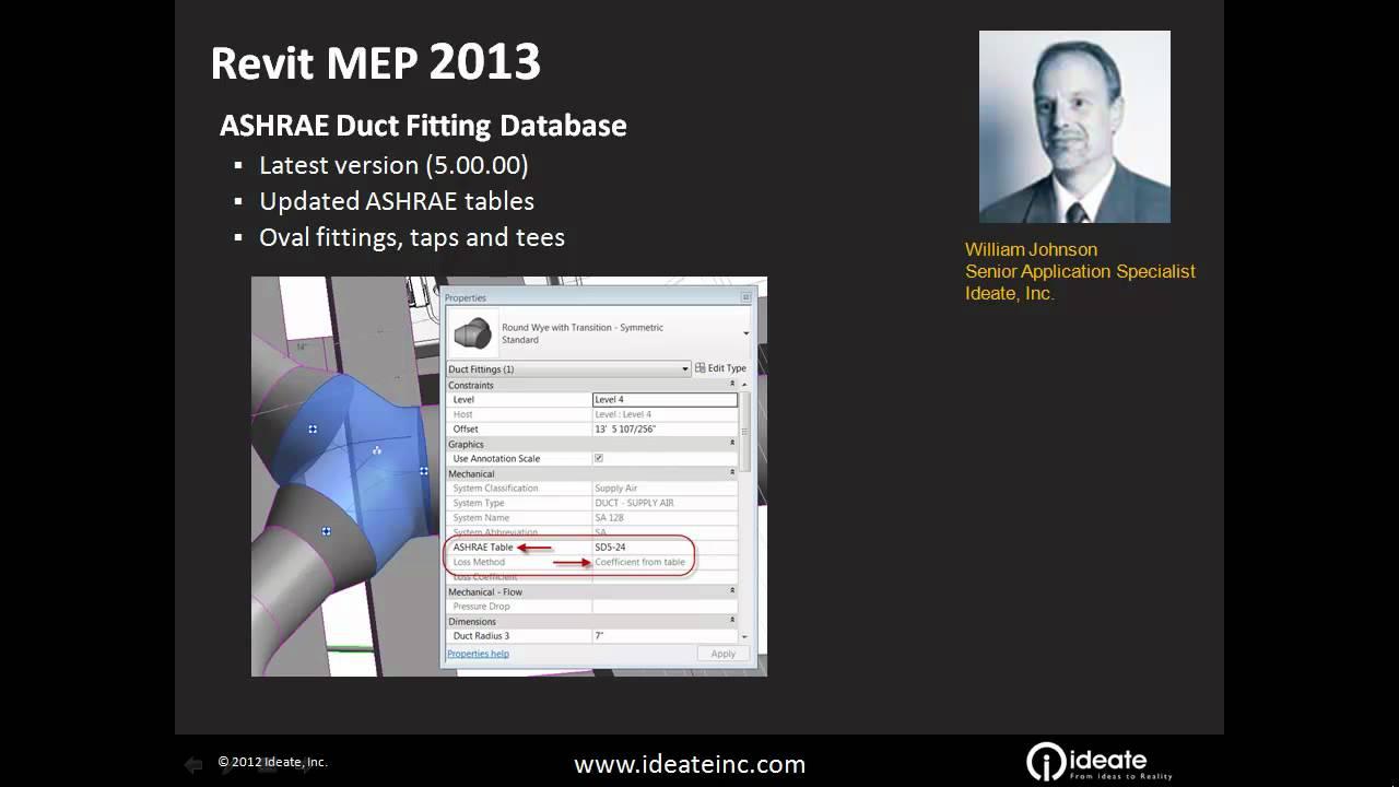 Autodesk Revit MEP 2013: Enhanced ASHRAE Duct Fitting Database