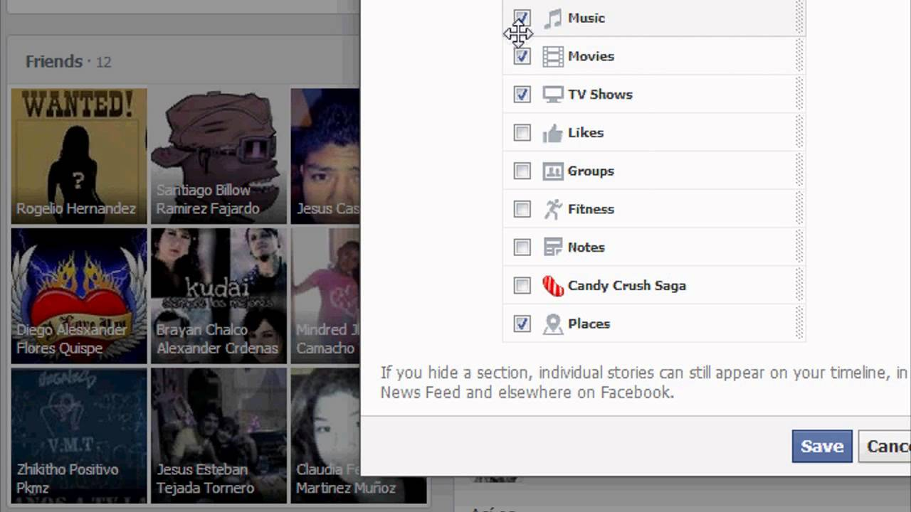 How to hide/unhide sections on Facebook 2013