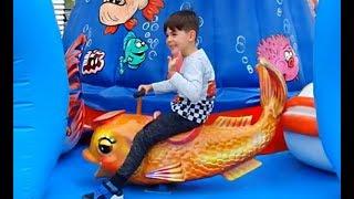 Fun Bouncy Ride on Carousel * Kids Having Fun