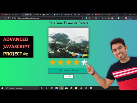 Create Star Rating Website In JavaScript, HTML & CSS In Hindi In 2020