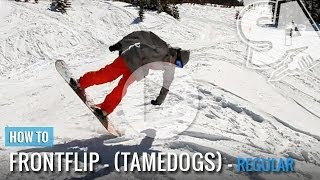 One of Snowboard Addiction's most viewed videos: How To Tame Dog (Front Flip) On A Snowboard (Regular)