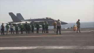 U.S. United States F/A-18 Hornet fighter airstrikes in Iraq 8 August 2014 against ISIL terrorists