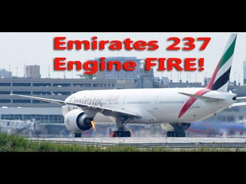 Emirates Engine Fire At Boston Airport (liveatc)