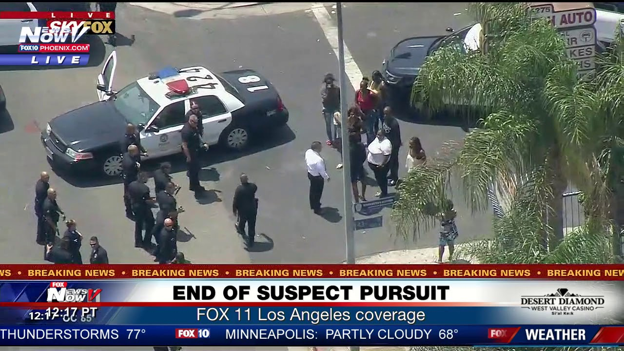 END OF POLICE CHASE: People living in Los Angeles neighborhood watch end of  pursuit