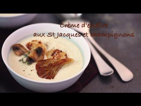 recette-de-la-crème-d'endives-aux-noix-de-st-jacques-et-aux-champignons