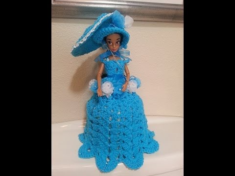 Crochet Fashion Doll toilet paper roll cover or birthday cake topper Part 1 of 2 DIY tutorial