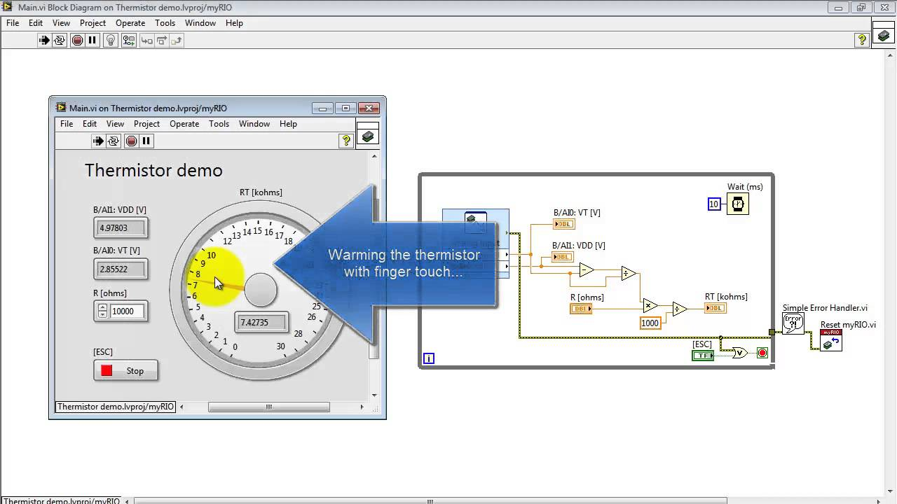 Ni Myrio   U0026quot Thermistor Demo U0026quot  Labview Project