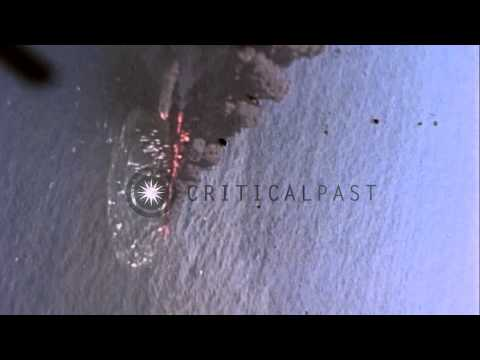 United States  aircraft from USS Cowpen attack on Japanese DD in the Pacific Thea...HD Stock Footage
