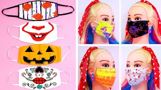 DIY Make Halloween Face Mask Face Covering With Filter Pocket Pumpkin Catrina Tie dye and more