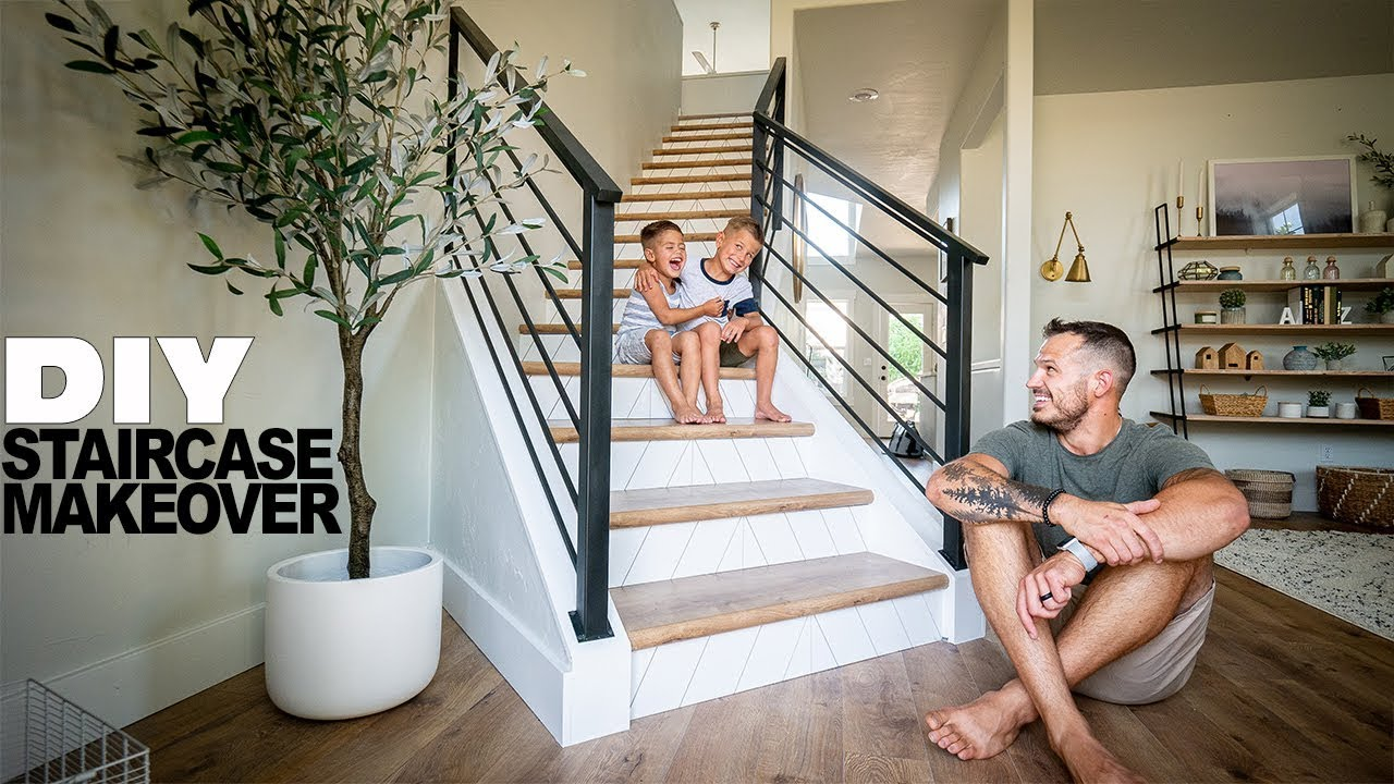 Diy Staircase Makeover Youtube   Stair Banisters And Railings   Baby Proof   Rustic   Split Level   Pinterest   Landing