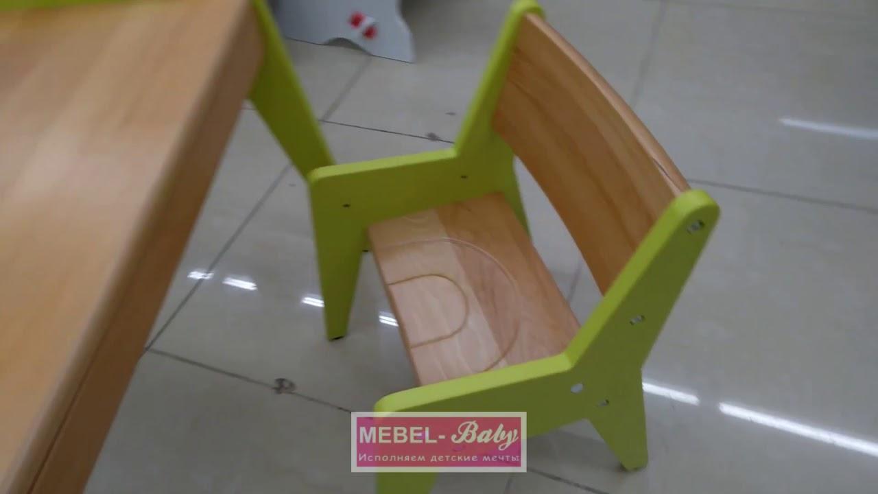 обзор комплекта детской деревянной мебели парта и стульчик Fundesk Omino Green
