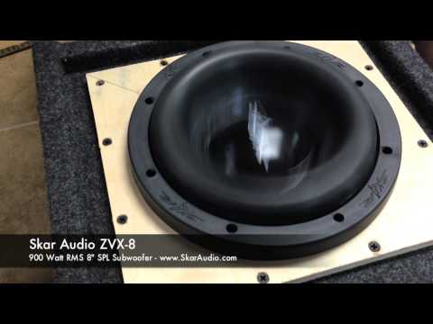 "Skar Audio ZVX-8 SPL 8"" 900 WATT RMS Subwoofer IN ACTION!"