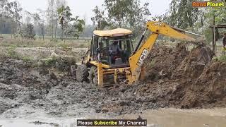JCB Backhoe Driving in Pond by Skilled Backhoe Operator - JCB Stuck in Mud - Dozer Video 5