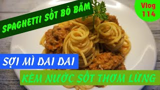 Spaghetti alla bolognese with minced beef sauce - mixed with sweet sour pork sauce