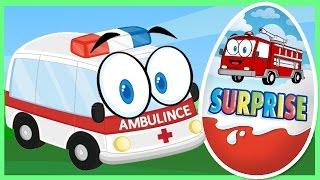 Скорая помощь - Пожарная машина - Киндер сюрприз - Полицейская тачка. Мультик с машинками