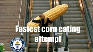 Attempting to break the Guinness world record for eating corn...
