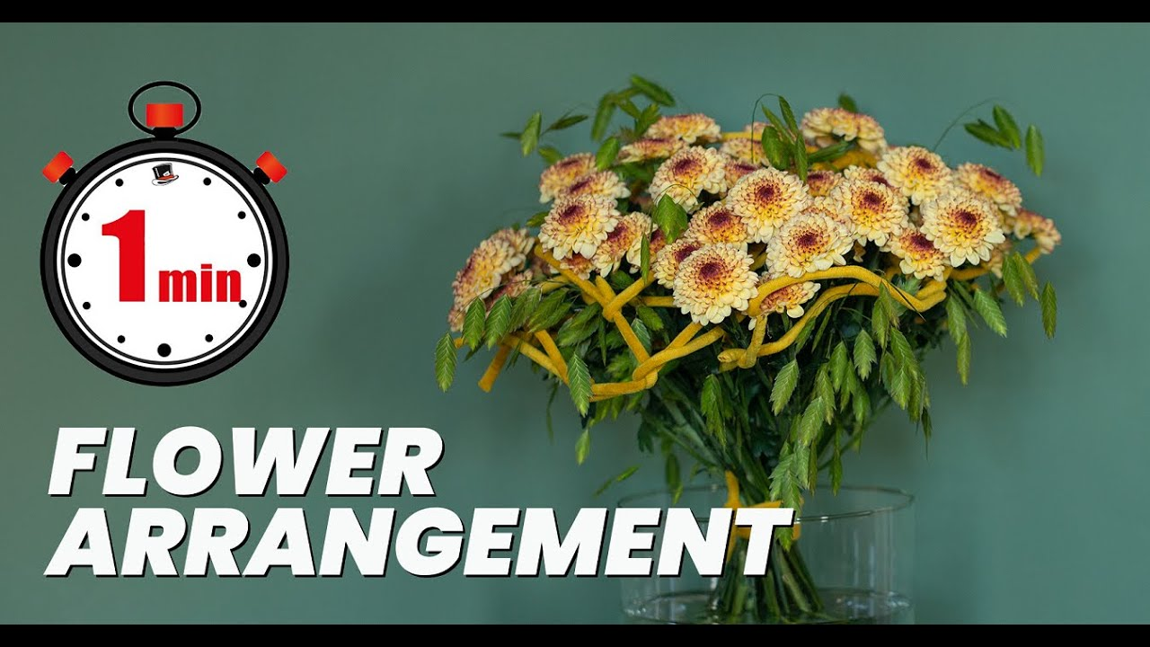 1 minute tutorial: how to make a frame bouquet with Chrysanthemum Abbey Cream | Flower Arrangement