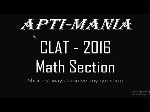 CLAT 2016 Actual paper Maths Section