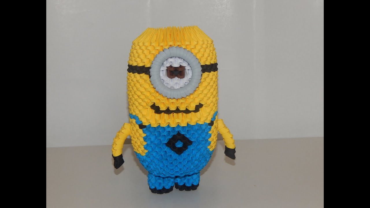 Papercraft How to make 3d origami minion part3