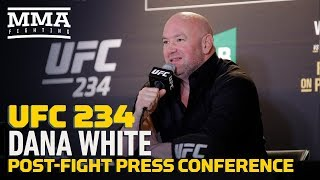 UFC president Dana White spoke to the media after UFC 234 about Israel Adesanya's decision win over Anderson Silva, Robert Whittaker's health, what's next for the middleweight division, plus much more.  Subscribe: http://goo.gl/dYpsgH  Check out our full video catalog: http://goo.gl/u8VvLi Visit our playlists: http://goo.gl/eFhsvM Like MMAF on Facebook: http://goo.gl/uhdg7Z Follow on Twitter: http://goo.gl/nOATUI Read More: http://www.mmafighting.com Subscribe to the podcast: http://applepodcasts.com/mmahour  MMA Fighting is your home for exclusive interviews, live shows, and more for one of the world's fastest-growing sports. Get latest news and more here: http://www.mmafighting.com