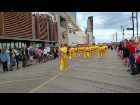 """法轮功团体参加新泽西州大西洋城""""庆祝美国""""游行"""