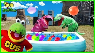 Pretend Play Water Balloon Fight with Giant Dinosaurs in Real Life