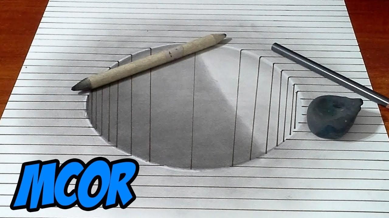 Como Dibujar Un Corazón En 3d Con Lineas: Como Dibujar Hoyo 3D Con Lineas Y Lapiz
