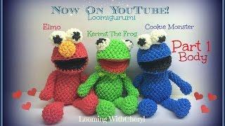 Rainbow Loom BODY for Kermit The Frog / ELMO/ Cookie Monster (Part 1 of 3) Loomigurumi Amigurumi
