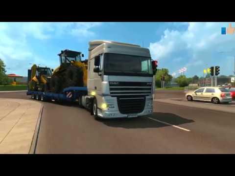 Рабочие грузовики Игры про машинки Тягач отвез бульдозер и фуру