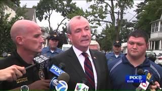 NJ Governor visits residents after flooding devastates area