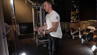 High Cable bar Underhand Tricep push down