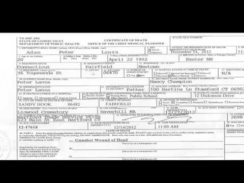 Sandy Hook Adam Lanza Death Certificate - Raw Document Exclusive ...