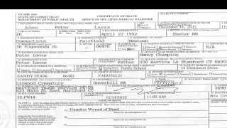 Sandy Hook Adam Lanza Death Certificate