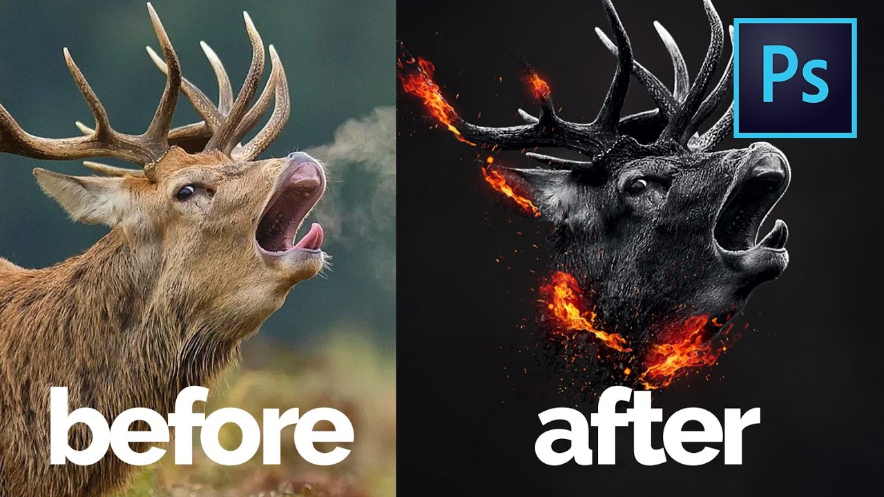 Photo Manipulation Series - Removing Background, Adding Fire & Blending In Photoshop Speed Art