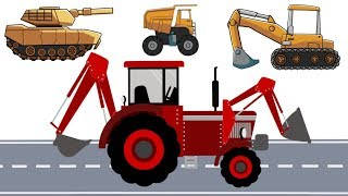 Excavator with Tank, Truck and Tractor with front loader | Construction vehicles | Maszyny Bajki