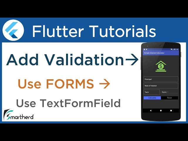 #3.8 Flutter Form Validation Tutorial using TextFormField: Flutter tutorial with Dart