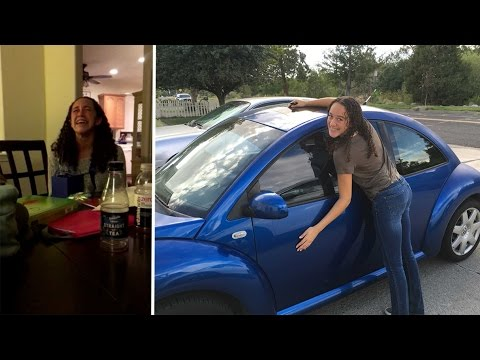 Girls Amazing Reaction To Cruel Car Surprise