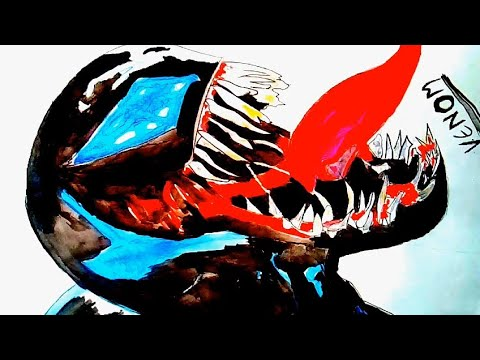 how-to-draw-venom-|-marvel-characters-|-oil-painting