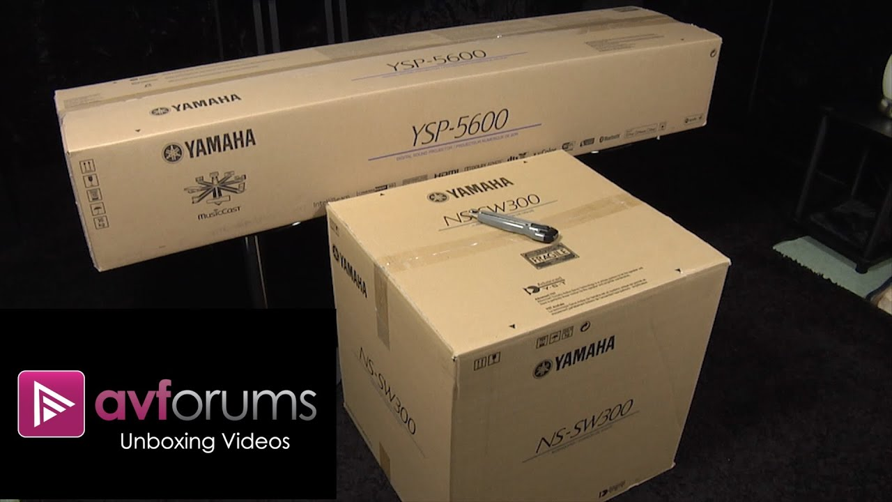 first look unboxing of yamaha ysp 5600 atmos soundbar. Black Bedroom Furniture Sets. Home Design Ideas