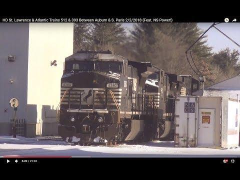 HD St. Lawrence & Atlantic Trains 512 & 393 Between Auburn & S. Paris 2/2/2018 (Feat. NS Power!)