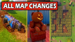 ALL *NEW* MAP CHANGES FORTNITEMARE UPDATE! HAUNTED PARK, CRASHED BATTLE BUS, FLOATING ISLAND!