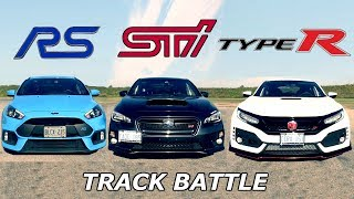 2017 Honda Civic Type R vs. Subaru WRX STI -TRACK REVIEW // ONE TRACK MIND Ep. 6
