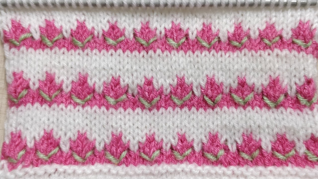 50269a0ed59c Tricolor Beautiful Rosebud Knitted Pattern for Kids. Simple