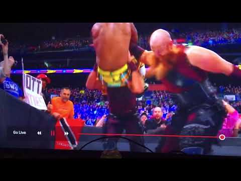 Slow motion of the slam from The Bludgeon Brothers to Xavier woods