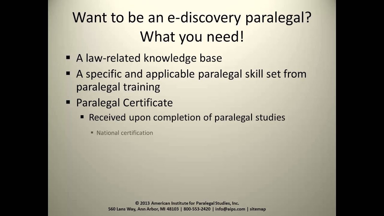 The Role Of The E Discovery Paralegal Youtube
