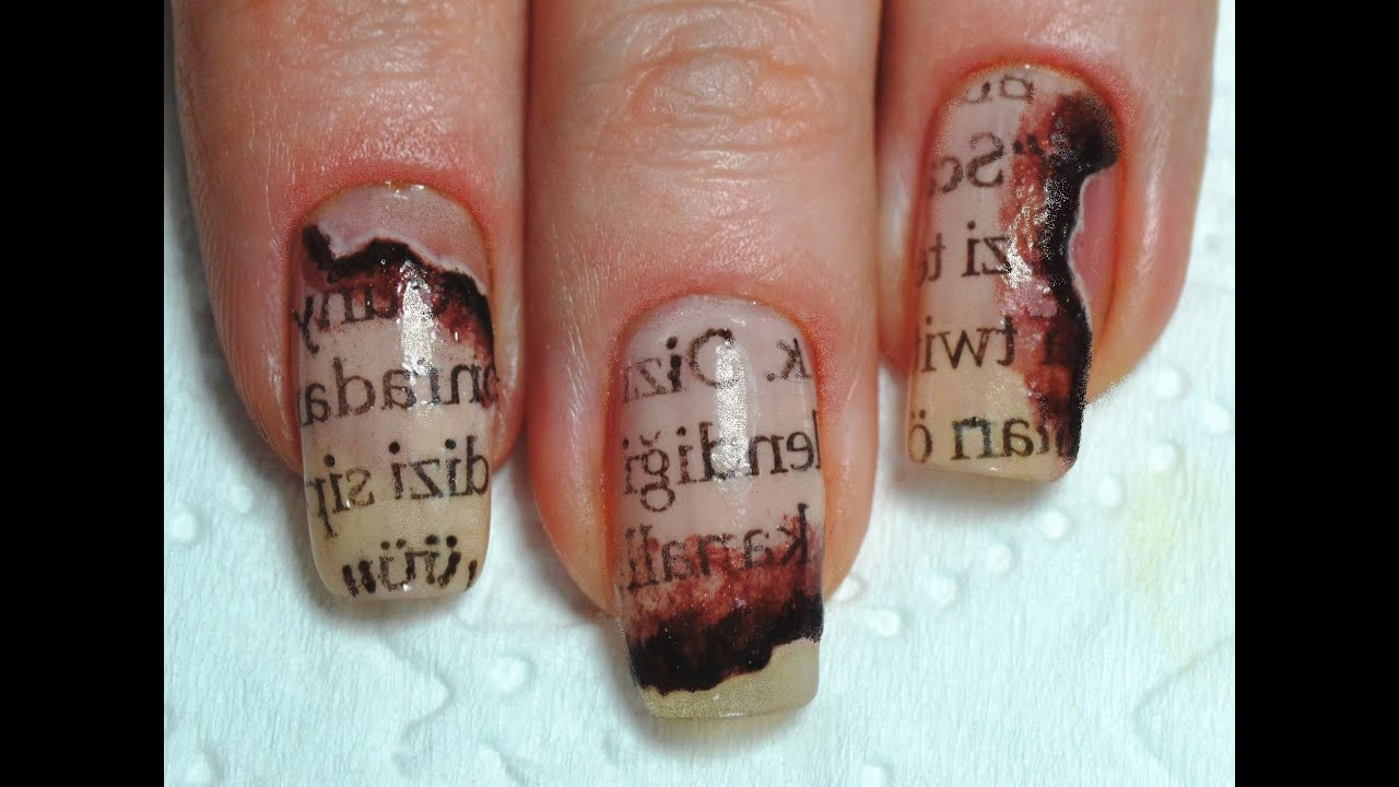 How to: Burned Newspaper nail art / Маникюр Газетный принт на ногтях ...