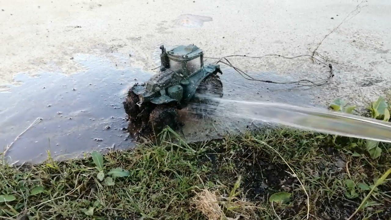 Электро-трактор из пластилина в грязи, жесткое месиво