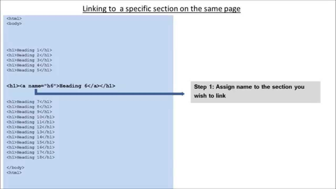 Name and Id Attribute of Anchor Tag In HTML - YouTube